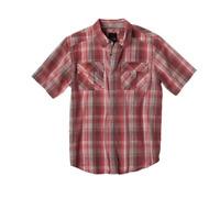 Men's Prana Midas Shirt Small Red Plaid Snap Front Organic Cotton Short Sleeve