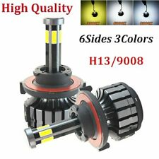 2x 6Sides H13 9008 200W 32000LM Bulbs Car Led Headlight Conversion Kit COB Light