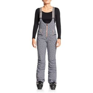 Women's ROXY Pop Snow Summit Insulated Bib Pants TRUE BLACK POP ANIMAL (kvm7)