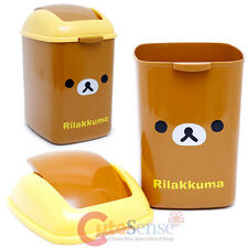 SanX Rilakkuma Face Trash Bin Basket Swing Top Rubbish Bin Kitchen Cosmetic 4.5L