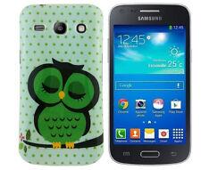 TPU Schutzhüllle f Samsung Galaxy Advance G350E Case Cover Tasche Eule grün