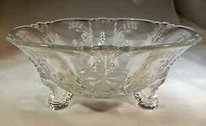 """HEISEY ORCHID CRYSTAL QUEEN ANNE 7-1/2"""" DIAMETER DOLPHIN FOOTED SAUCE JELLY BOWL"""
