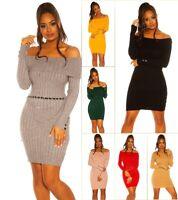 KouCla Strickkleid Minikleid Kleid mit XL Kragen und Knöpfen Carmen-Ausschnitt