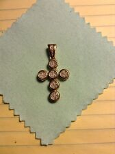 14 Karat Yellow Gold Diamond Cross Pendant Carat Weight. 50 Ct.