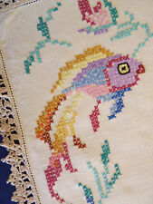 JAPANESE KOI Cross Stitch Vintage Hand Embroidered Duchess Set