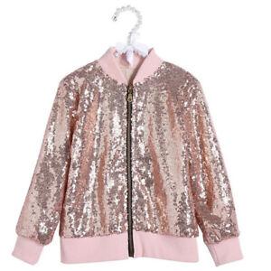 Kids Jackets Girls Boys Sequin Zipper Coat Jacket for Toddler Birthday Christmas
