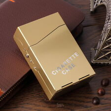 Aluminium Flip up CIGARETTE BOX - - - - - Gold colour metal cigaret case cigeret