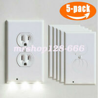 5PC Outlet Wall Plate Led Night Lights Cover Duplex With Ambient Light Sensor