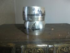 More details for pair of marsh arab solid silver niello  napkin rings