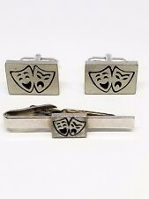 Comedy and Tragedy Mask Vintage Cufflinks Tie Clip