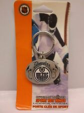 NHL Hockey Edmonton Oilers Oval Pewter Keychain Key Chain (E22S)