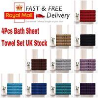 4Pcs Luxury Large Bath Sheets 100% Cotton Bathroom Shower Towel Sheet Pack Of 4