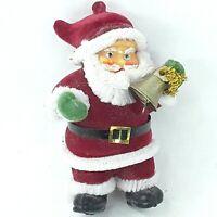 Christmas Santa Claus figure ornament decoration figurine Flocked Small Vintage