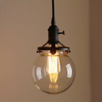 "PERMO 5.9"" RETRO INDUSTRIAL LAMP GLOBE GLASS SHADE BLACK CEILING PENDANT LIGHT"