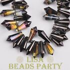 New 10pcs 20x8mm Chandelier Faceted Crystal Glass Pendant Loose Beads Gun Black
