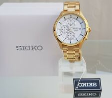 New SEIKO Chronograph Mens Watch Gold pl. WR 100m,RRP £250 UK Seller IDEAL GIFT!