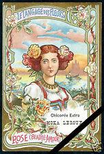 Vintage French Art Nouveau Trade Card Chicoree Moka Leroux Rose Beauty Amour