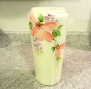 Fenton Glass Buttercup Yellow Overlay Handpainted Floral Vase, new