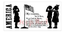 Deep Red Rubber Cling Stamp My Country America Silhouette US Military Armed Forc