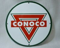 VINTAGE CONOCO PORCELAIN SIGN GAS OIL SERVICE STATION GASOLINE RARE PUMP PLATE