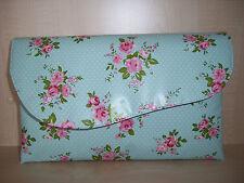 OVERSIZED BLUE FLORAL VINTAGE, aysemmetrical pink roses, asymmetrical clutch bag
