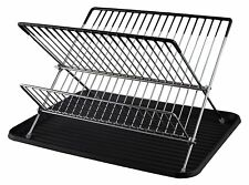Buckingham Folding 2 Tier Chrome Plated Dish Drainer/Holder with Tray