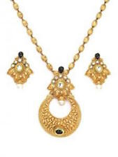 Gold Indian Pendant Set Earrings Polki Wedding Ethnic Bollywood Jewellery