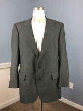 JOS A BANK Charcoal Gray Suit 43 L 100% Wool Excellent windowpane