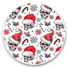 2 x Vinyl Stickers 30cm - Christmas Santa Hat Skulls Goth  #44607