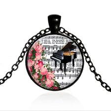 Vintage Piano music Black Dome glass Photo Art Chain Pendant Necklace