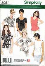 SIMPLICITY SEWING PATTERN 8061 MISSES 8-16 TOPS W/ SIDE SLITS, NECKLINE OPTIONS