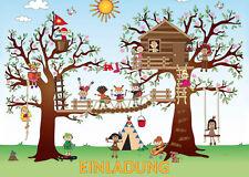 6-er-Set Einladungskarten Kindergeburtstag im Kletterpark / Hochseilgarten