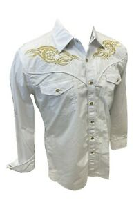Men RODEO WESTERN COUNTRY WHITE GOLD STITCH TRIBAL SNAP UP Shirt Cowboy 07720