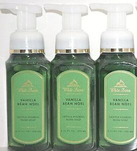 3 Bath Body Works Vanilla Bean Noel White Barn Gentle Foaming Hand SOAP 8.75 oz