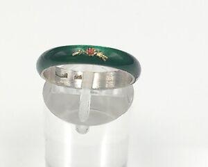 Antiker 925 Silber Ring Emaille Grün mit Blumen Bukett Damen