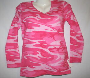 Pink Camo Ladies Shirt, Long Sleeve