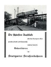Straßenbahn Stuttgart XL Reklame 1925 Werbung Höhenfahrten  +