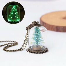 Glow In the Dark Snowflake Christmas Tree Glass Bottle Necklace Luminous Jewelry