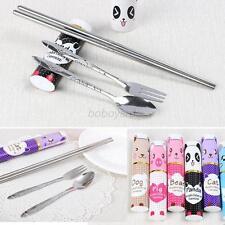 Travel Picnic Fork Spoon Chopsticks Foldable Stainless Steel Mini Tableware Set