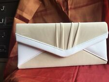 Cream Velvet with White Patent Clutch Bag, optional chain strap.