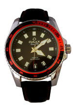 Omax Men's Silver Bezel Black PU Leather Strap Watch Analog Quartz Extra Battery