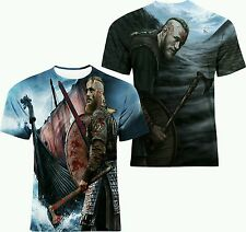 VIKINGS RAGNAR LOTHBROK OIL PAINT ART FRONT AND BACK ALL OVER PRINT TOP T-SHIRT!