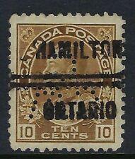 Perfin C46-CW/C: Hamilton Precancel 1-118, 10c Brown Admiral, Position 3, CV $75