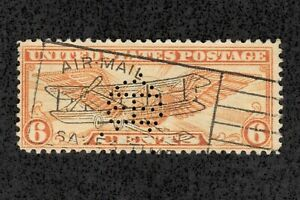 US Airmail C19 6c Orange 1930 Perfin Used Rare Overprint with Plane Wings