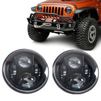 "2x 7"" Inch Round LED Headlights For Land Rover Defender Headlamps Hi/Lo Beam E9"