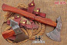 HUNTEX Custom Hand-Forged Damascus 45 cm Long Walnut Wood British Trade Hatchet