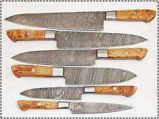 6 Pc's Beautiful Custom hand made Damascus steel Chef knife Set. (ZE-1071-OL)