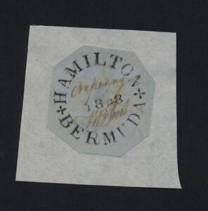 "***REPLICA*** of Bermuda 1848 1d black/bluish ""Perot Provisional"" SG O1, Sc X1"