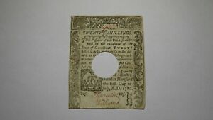 1780 Twenty Shillings Connecticut Colonial Currency Bank Note Bill RARE 20s