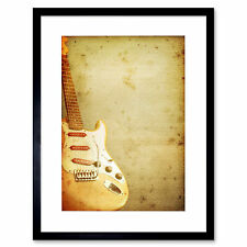 Painting Illustration Abstract Guitar Music Instrument Framed Print 12x16 Inch